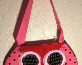 Pink Owl with red beak Purse