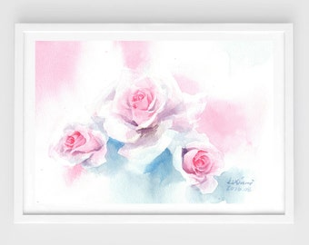 "Original watercolor,sweet roses,original painting,7""x9""5,aquarelle originale,garden,home decor"