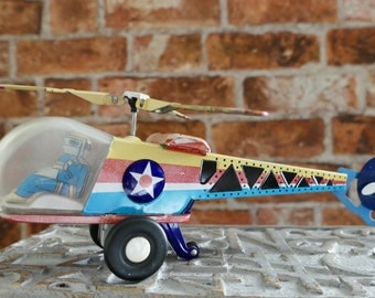 Vintage Collectible Item Helicopter Tin Friction Toy MF334