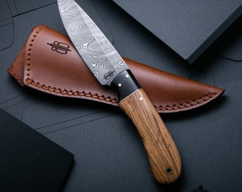 Custom Handmade Damascus Fixed Blade Spear Hunting Knife (Olivewood Handle)