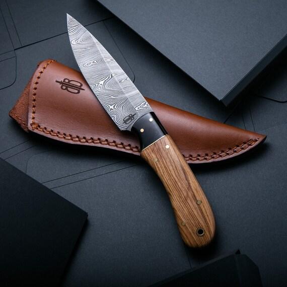 Custom Handmade Damascus Fixed Blade Spear Hunting Knife (Olivewood Handle)