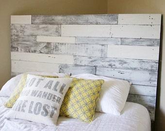 Pallet headboard (white/grey), pallet headboard, wood headboard, headboard, reclaimed wood headboard