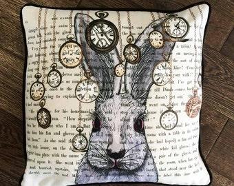 Alice in wonderland pillow cover - white rabbit pillow white rabbit cushion - alice in wonderland decor White rabbit print decorations