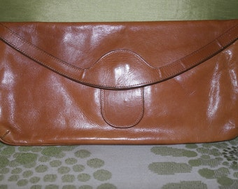 Vintage Tan Leather Clutch Bag by Elgee