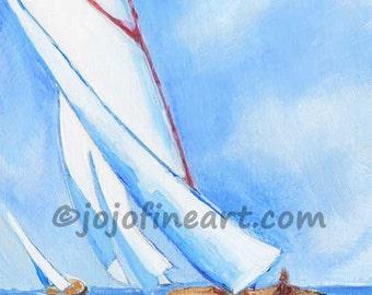 sailboat on lake Michigan original art jojofineart.com