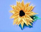 flower clip for hair, flower clips for hair for girls, large flower clip for hair, flower for hair, sunflower hair clip, ribbon flowers