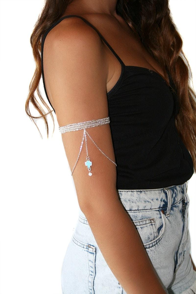 Arm Cuff Silver Arm Band Upper Arm Cuff Wire Crochet Arm