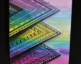 Zentangle Triangles Original 12x16 Canvas Panel