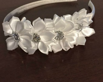 White sparkle hard silk headband