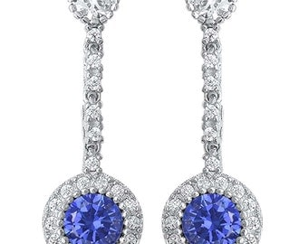 Sterling Silver .925 Women's Tanzanite Hanging Fashion Drop Dangle Earrings