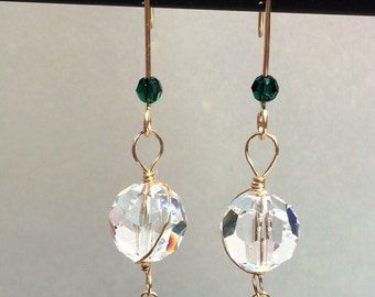 Swarovski Crystal and Gold Wire Earrings