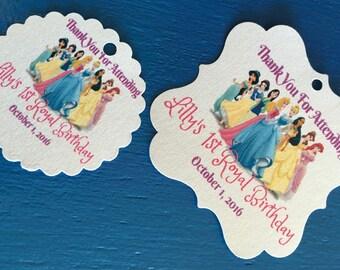 Disney Princesses Royal Birthday jasmine Snow White Mulan Aurora Cinderella Pocahontas Belle Ariel Birthday Tags