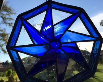 Blue Pinwheel Polygon Suncatcher