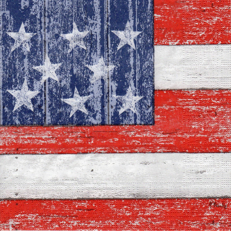 Decoupage Paper Napkins Vintage America American Flag