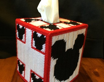 Handmade Mickey Mouse Plastic Canvas Tissue Box Cover