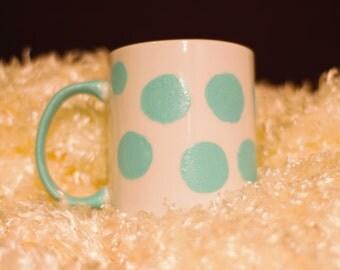 Hand painted Aqua large polka dot ceramic mug