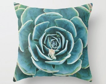 succulent pillow cover, succulent decor, echeveria pillow, echeveria photograph, nature print, green home decor, garden gift, wedding