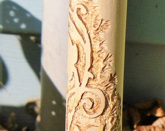 Hand carved hiking stick with spiraling vine & leaves