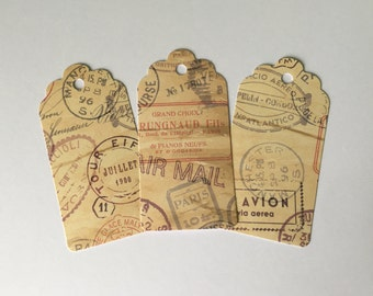 Vintage style air mail tags (12pcs)