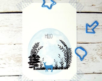 Woodland Deer Forest Postcard Stationary
