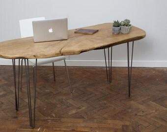EOLI - Handmade Industrial Chic Live Edge Hairpin Leg Desk. Custom Made to Order.