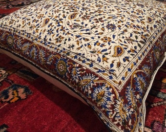 Block printed calico and linen pillow cover, traditional tapestry cushion cover