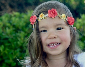 Baby flower crown, flower girl crown, flower crown baby, hippy crown, flower halo, flower girl halo, orange and yellow flower crown