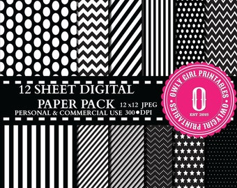 Black Pattern Digital Paper Pack Personal & Commercial Use