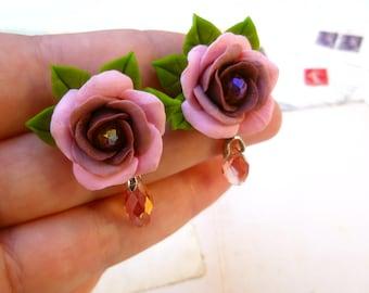 Rose earrings Pink earrings Stud Earrings Flowers earrings Cute earrings Floral earrings Shades of pink earrings Colorful Earrings
