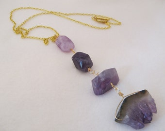 Purple Amethyst Gold Lanyard Necklace | #128