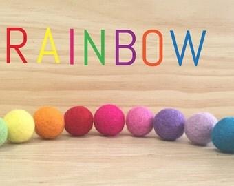 Rainbow Felt Ball Garland - Pom Pom Garland