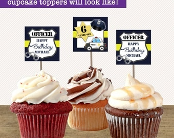 Police Birthday Cupcake Toppers, Police Party Cupcake Toppers