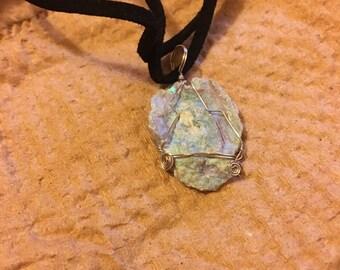 Angel aura Chalcedony Druzy Quartz necklace