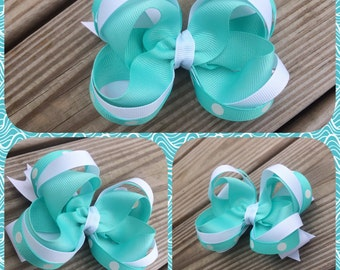"Light blue and white stacked boutique hair bow 4""wide"