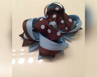 Blue and brown stacked boutique hair bow