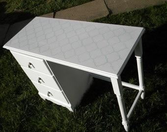 Vintage Hand Painted Vanity / Desk with Stenciled Top