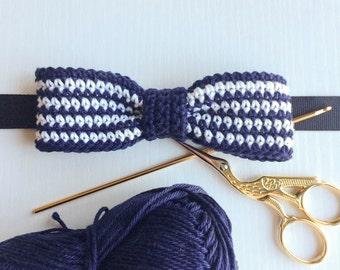 Striped navy blue and white slim fit pre-tied bow tie, Bow tie, Pre-tied bow tie, Adult bow tie, Handmade bow tie, Slim bow tie