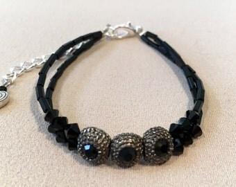 Swarovski Crystal Black Bracelet, Crystal Beaded Bracelet, Crystal Bracelet