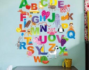 Abc Wall Decal Etsy - Vinyl wall decals alphabet