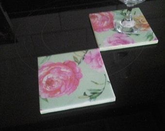 Flower ceramic  coasters