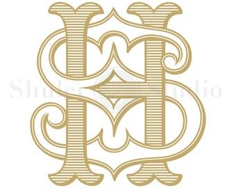 Wedding Monogram Logo - HS SH - Monogram Logo - Digital