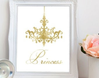 Gold princess printable art, printable princess wall art, gold chandelier printable, chandelier wall art, girls wall art, INSTANT DOWNLOAD