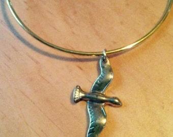 Flight Adjustable Bangle Bracelet.  Bird charm layering bangle bracelet.