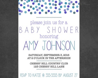 Baby Shower Invitation Baby Boy Blue Gray Dots
