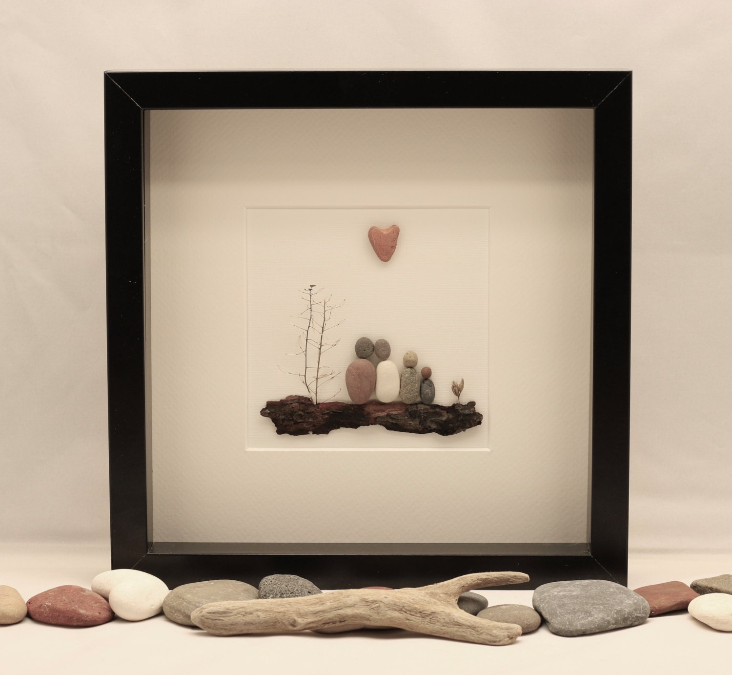 Pebble art picture family of four unique family gift
