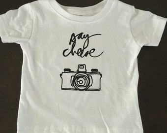 SALE Boys or girls tee, Say Cheese, you choose size. Cool top, cute shirts, cool kids clothes, trendy shirts!