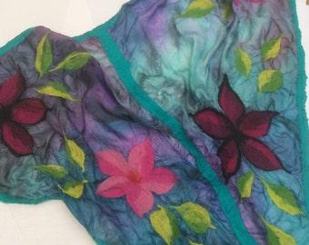 Nuno felted silk flowers shawl