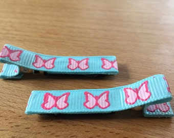 hair clips - pink butterfly, light blue - baby girl, child