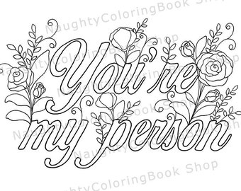 youre my person best friend printable gift coloring page adult coloring page best friend gift inspirational quote motivational quote