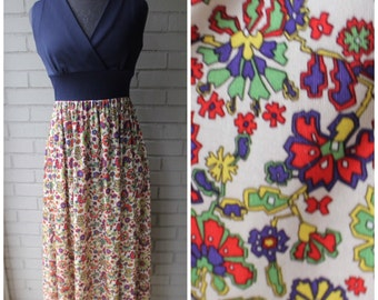 1970s Navy and Retro Floral Maxi Dress - Size Small, Medium